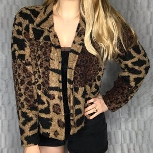 Vintage Supply & Demand Animal Print Teddy Jacket